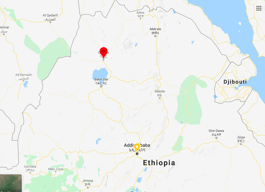Location of The city of Gondar from Addis Ababa