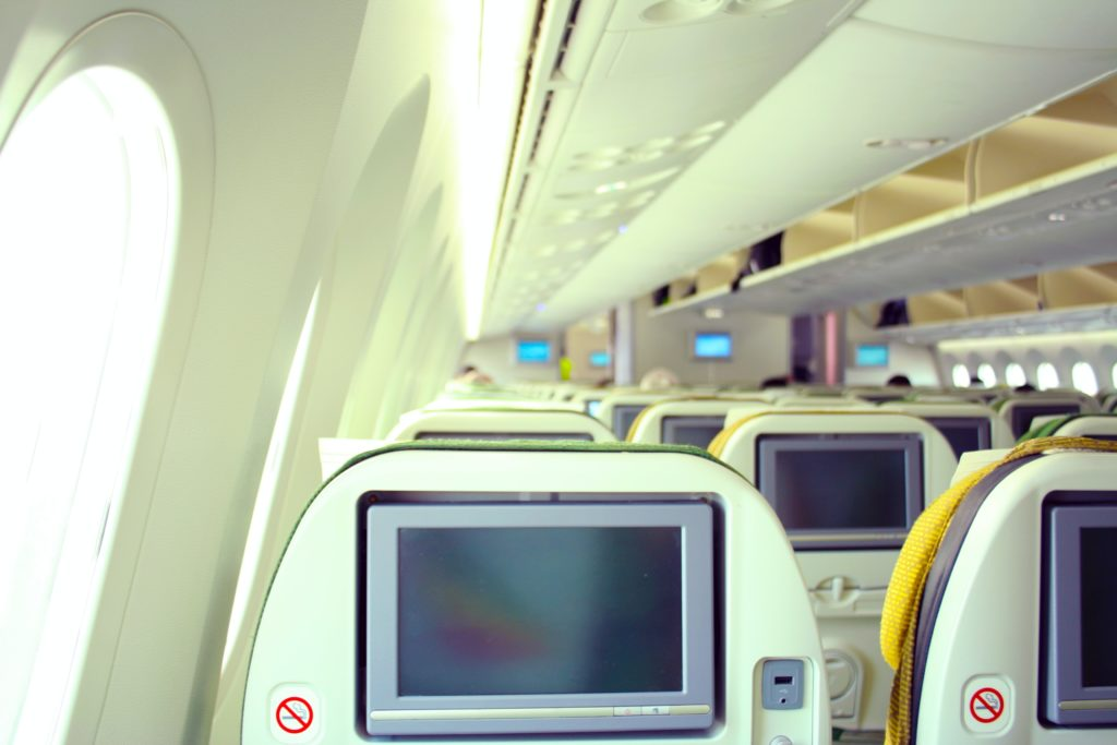 a picture inside of Ethiopian Airlines plane